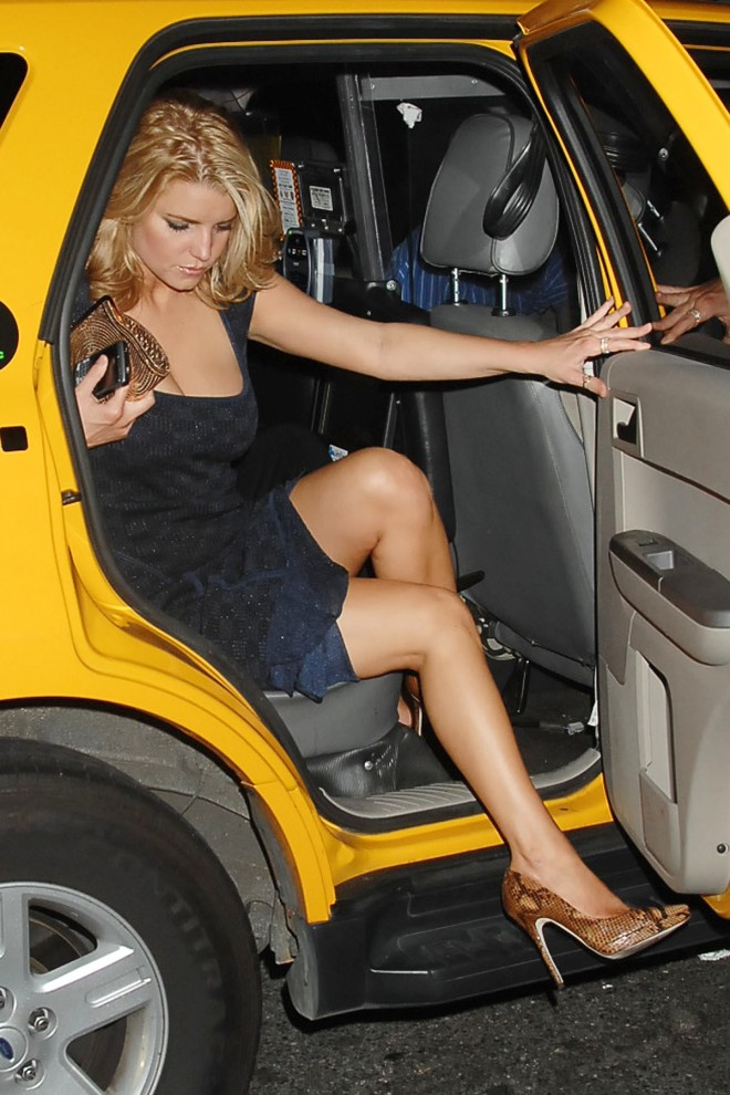 jessica simpson legs getting out of cab