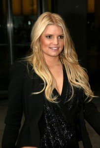 Jessica Simpson showing a hint of cleavage
